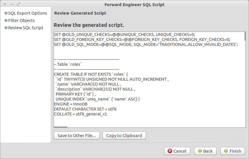Generate SQL